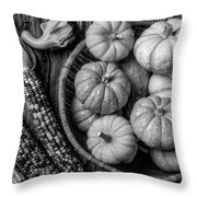 Mimi Pumpkins In Wicker Bowl Black And White Throw Pillow