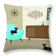 Mini Fish Art Aqua Chair Throw Pillow