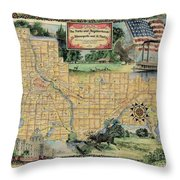 Minneapolis St. Paul Map Vintage Custom Map Art Hand Painted Throw Pillow