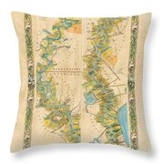 Mississippi River Historic Map Lousiana New Orleans Baton Rouge Map Farming Plantation Hand Painted  Throw Pillow