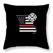Missouri Firefighter Shield Thin Red Line Flag Throw Pillow