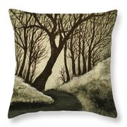 Misty Dawn In Early Winter Throw Pillow
