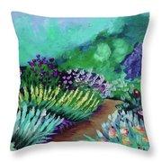 Misty Garden Path Throw Pillow by Jacqueline Athmann