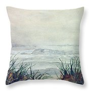 Misty Morning On Lawrencetown Beach Throw Pillow
