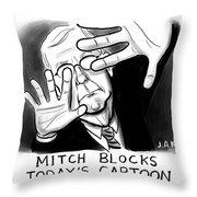Mitch Blocks Today's Cartoon Throw Pillow