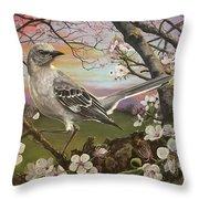 Mockingbird Sunset Throw Pillow