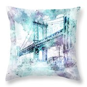 Modern Art Nyc Manhattan Bridge - Jazzy Watercolor Throw Pillow