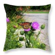 Monarch Butterfly Danaus Plexippus On A Thistle Throw Pillow