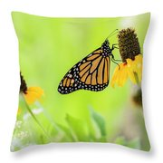 Monarch On Wildflowers Throw Pillow