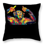 Monkey Drummer Gift For Musicians Color Design Throw Pillow