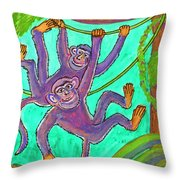Monkeys On Creepers Throw Pillow