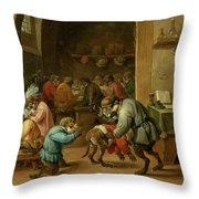 Monos En La Escuela   Throw Pillow