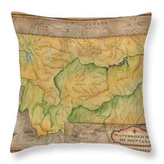 Montana Custom Map Art Rivers Map Hand Painted Throw Pillow
