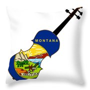 Montana State Fiddle Throw Pillow
