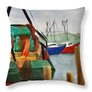 Montauk Dock W Throw Pillow