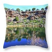 Montezuma's Well Az Water Blue Sky Reflections Stone Wall 3192019 5253. Throw Pillow