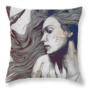 Monument - Red 'n Blue - Sleeping Beauty, Woman With Skyline Tattoo And Bird Throw Pillow