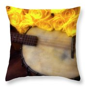Moody Banjo And Yellow Roses Throw Pillow