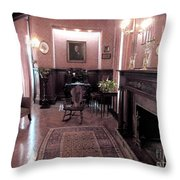 Moody Mansion Study Throw Pillow