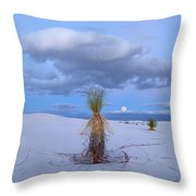 Moon And Soaptree Yucca, White Sands Throw Pillow