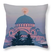 Moon In The Cross Of The Magnificent St. Sava Temple In Belgrade Throw Pillow