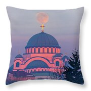 Moon On Top Of The Cross Of The Magnificent St. Sava Temple In Belgrade Throw Pillow