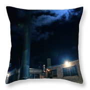 Moon Over Industrial Chicago Alley Throw Pillow