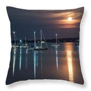 Moon Over Rockland Throw Pillow