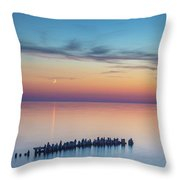 Moonset On Lake Superior Throw Pillow