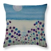 Moonshadow Flower Field Throw Pillow by Kim Nelson