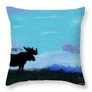 Moose - At - Sunset Throw Pillow
