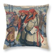 Moravian Slovaks In The Winter Throw Pillow