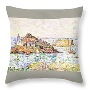 Morlaix, Entrance Of The River - Digital Remastered Edition Throw Pillow