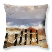 Morning Mists In The Mountains Throw Pillow by Lois Bryan