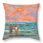 Morning Stroll At Isle Of Palms Throw Pillow