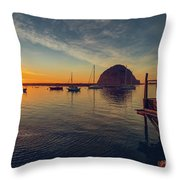 Morro Bay Harbor Sunset Throw Pillow