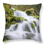 Mossy Falls Throw Pillow by Nicole Young