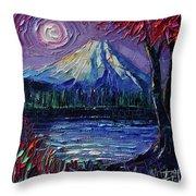 Mount Fuji - Textural Impressionist Palette Knife Impasto Oil Painting Mona Edulesco Throw Pillow