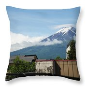 Mount Fuyji From A Distance With Clouds Around It Throw Pillow