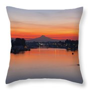 Mount Hood Over Columbia River At Dawn Throw Pillow