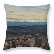 Mount Hood View Over Portland Cityscape Throw Pillow