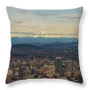 Mount Hood View Over Portland Cityscape Panorama Throw Pillow