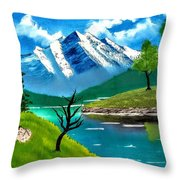 Mountain By The Lake Throw Pillow