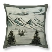 Mountain Foggy Dawn - In Abstract Realism Throw Pillow