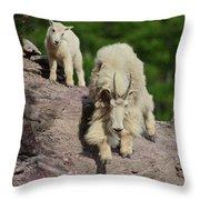 Mountain Goats- Nanny And Kid Throw Pillow