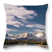 Mountain Range At Sunset Seen From Rio Throw Pillow