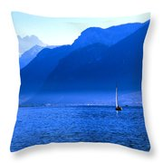 Mountains Across Lake Geneva Throw Pillow by Jeremy Hayden