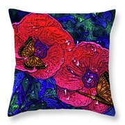 Moving Flowers Throw Pillow
