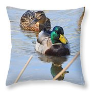 Mr And Mrs Duck Throw Pillow
