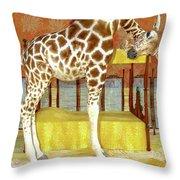 Ms Kitty And Her Giraffe  Throw Pillow